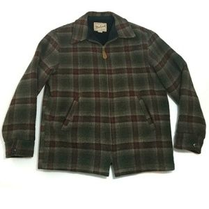 Woolrich Plaid Wool Blend Faux Sherpa Jacket Coat